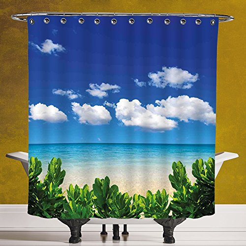 Funky Shower Curtain 3.0 by SCOCICI [ Tropical Decor,Beach Sea Clear Water Tropic Plants Holiday Getaways Travel Destinations Decorative, ] Waterproof Polyester Fabric Decorative Bath Curtain - Snowbird Destinations