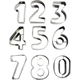 9 Piece Large Metal Number Shaped Cookie Cutter Set by Kurtzy - Stainless Steel Cutters Including Numbers 0 - 9. Perfect Shapes for Baking Cookies Cake Decorating Icing Fondant and Sugarcraft Work