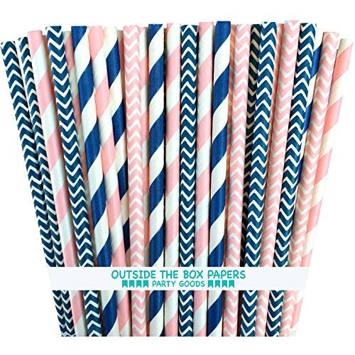 Outside the Box Papers Pink and Navy Blue Chevron and Stripe Paper Straws 7.75 Inches 100 Pack Pink, Navy Blue, White]()