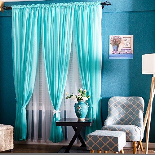 Premium Sheer Curtains Sheer Voile Luxurious High Thread Window Groomet Curtains Panel (55X84-INCH, TiffanyBllue-2pcs) (Tiffany Blue Curtain Panels)