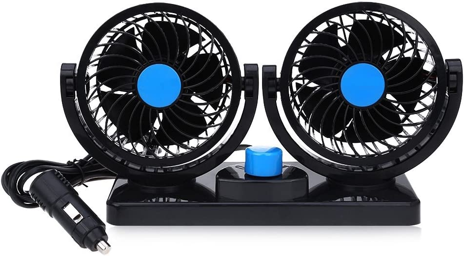 Mitchell Double Fans Combination 360 Degree Rotating Car Cooling Fan Air Conditioner for Cars (Blue 12V)
