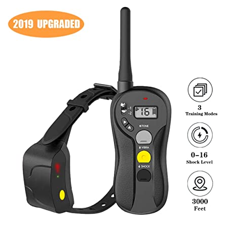 PATPET-US Shock Collar for Dogs – IPX7 Waterproof Dog Shock Collar with Remote 3000ft Range No Harm Dog Training Collar Fast Training Effect for Small Medium Large Dogs
