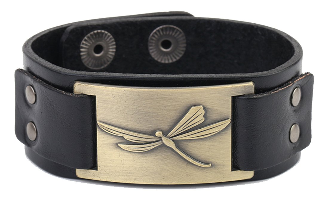 Retro Dragonfly Spiritual Animal Metal Connector Cuff Leather Bracelet for Men/Women (Black Wristband and Silver) YiYou