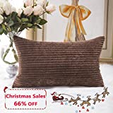 Home Brilliant Plush Striped Corduroy Velvet Rectangular Throw Pillow Case Cushion Cover for Chair, 30 x 50cm, Coffee Brown