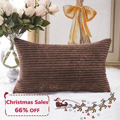 Rectangular Throw Pillows (Home Brilliant Plush Striped Corduroy Velvet Rectangular Throw Pillow Case Cushion Cover for Chair, 30 x 50cm, Coffee Brown)