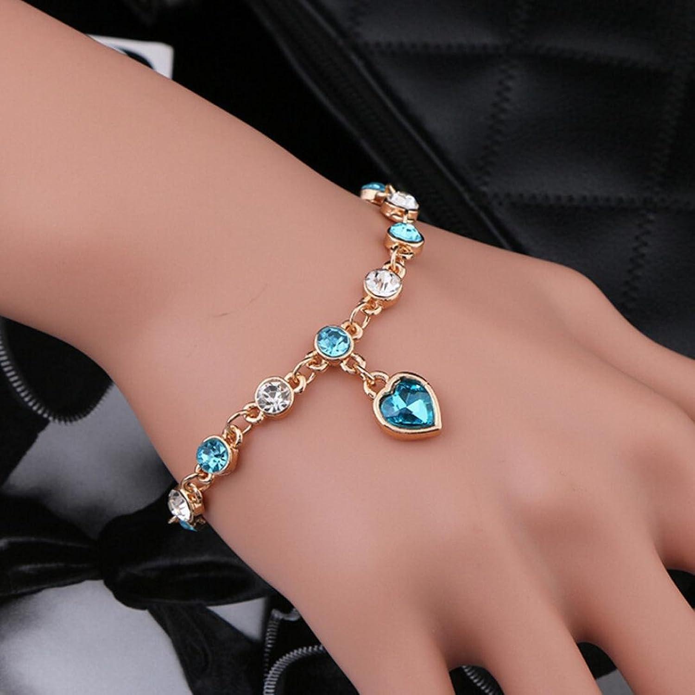 Amazon.com: Crystal Bracelet Heart Flash Diamond Alloy Jewelry Foot ...