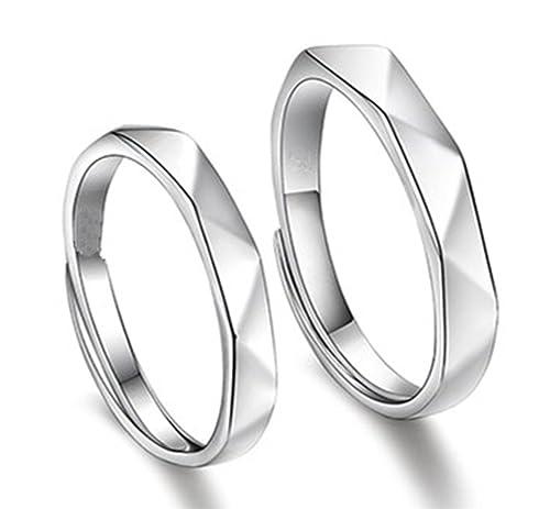 SASSU Fine para hombre para mujer plateado anillos ajustable anillo cubic zirconia anillos de boda anillo