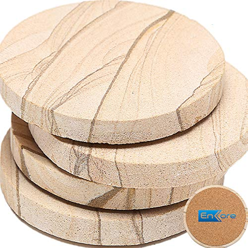 (ENKORE Stone Coaster For Drinks Absorbent - Set of 4 Coasters, Natural Thirsty Absorbing Sandstone Body with Cork Backing No Holder, Oversize 4.1 inch Suits Large Mug & Wine Glass)