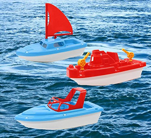 Toy Boat Bath Toys - Childrens Toy Boat Combo 3 pack | Kids Beach Toys Set of 3 includes x1 Sail boat, x1 Speed Boat, and x1 Tugboat | Toy Boat Combo for Swimming Pool, Beaches and Tubs