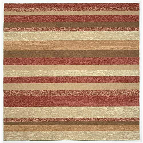 Liora Manne RV0S8A21524 1900/24 RED Ravella Casual Stripe Indoor/Outdoor Rug, 8' X 8' Square,