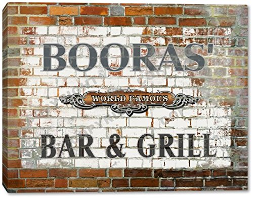 BOORAS' World Famous Bar & Grill Brick Wall Stretched Canvas Print