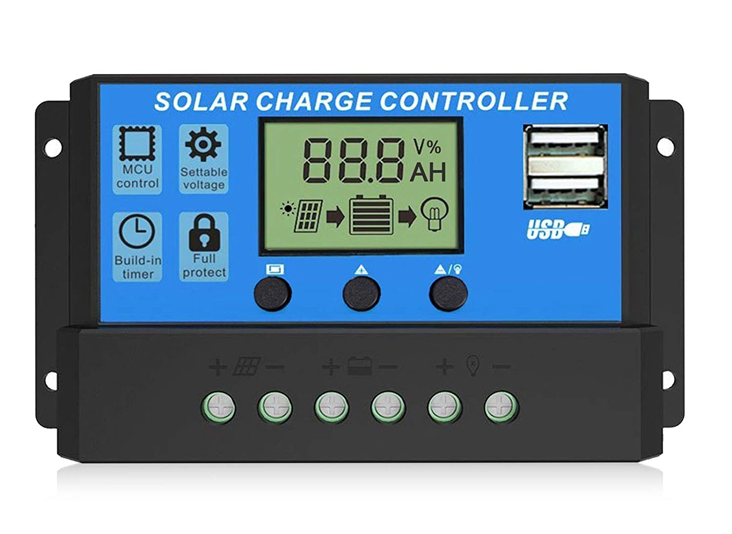 EEEKit Solar Charge Regulator, Adjustable Multi-Functional LCD Display Light Controller, With USB Dual Port Solar Panel Battery, 12Volts 24Volts 30 Amps