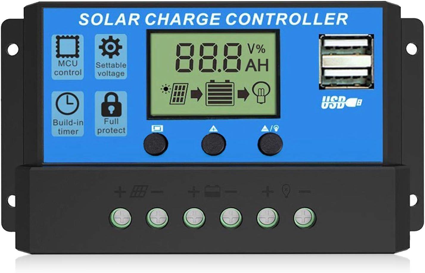 EEEKit 20A Cargador Solar Controlador Panel Solar Batería Regulador Inteligente con Puerto USB Pantalla 12V / 24V
