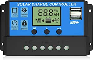EEEKit 30A Solar Charge Controller, Dual USB Port Solar Panel Battery Intelligent Regulator, Multi-Function Adjustable LCD Display with Timer Setting On/Off Hours, 12V24V 30A