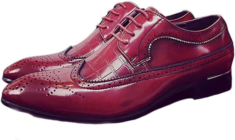 YLY Mens Brogue Shoes Classic Hollow Carving Splice PU Leather Wingtip Lace Up Breathable Lined Oxfords Breathable