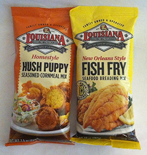 Louisiana Fish Fry Duo - 1 each of Hush Puppy Cornmeal Mix and New Orleans Style Fish Fry Seafood Breading Mix (Mix Fish Bake)