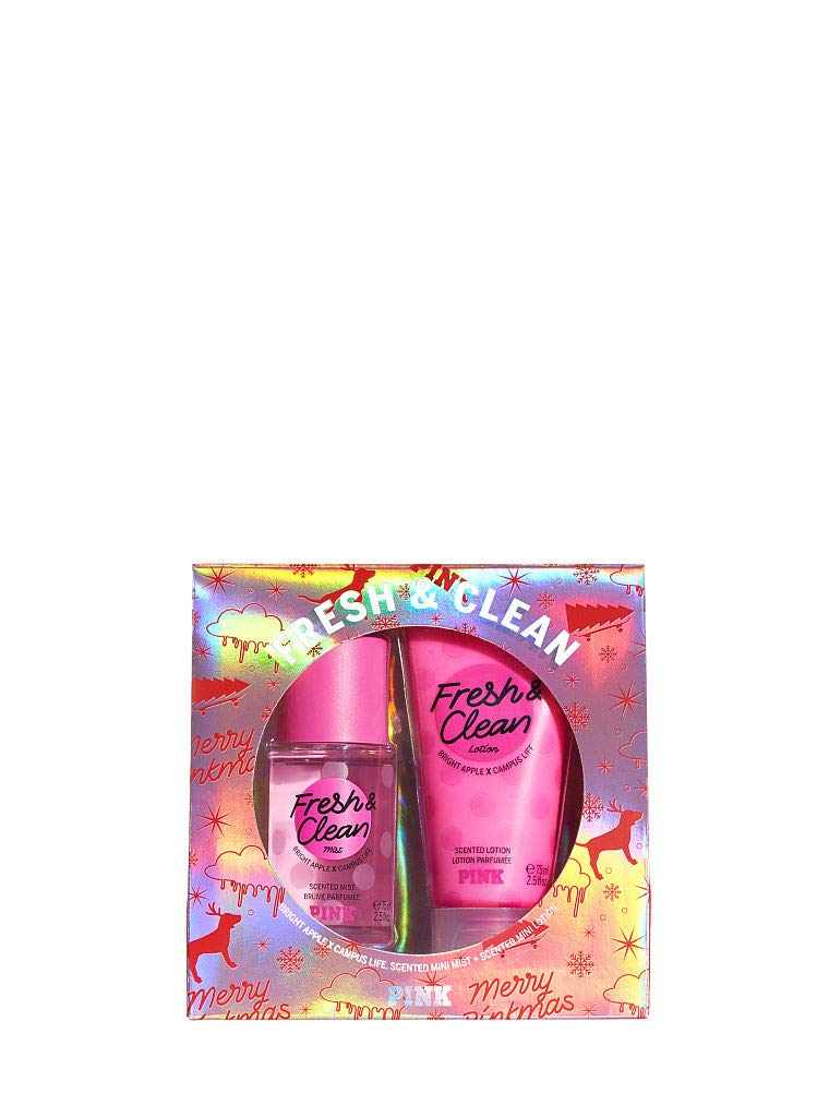 Victoria Secret NEW! FRESH & CLEAN PINK MINI MIST & LOTION GIFT SET