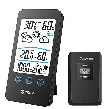 HOCOSY Estación Meteorológica Inalámbrica, Termómetro Digital Medidor de Humedad y Temperatura, Sensor Exterior,