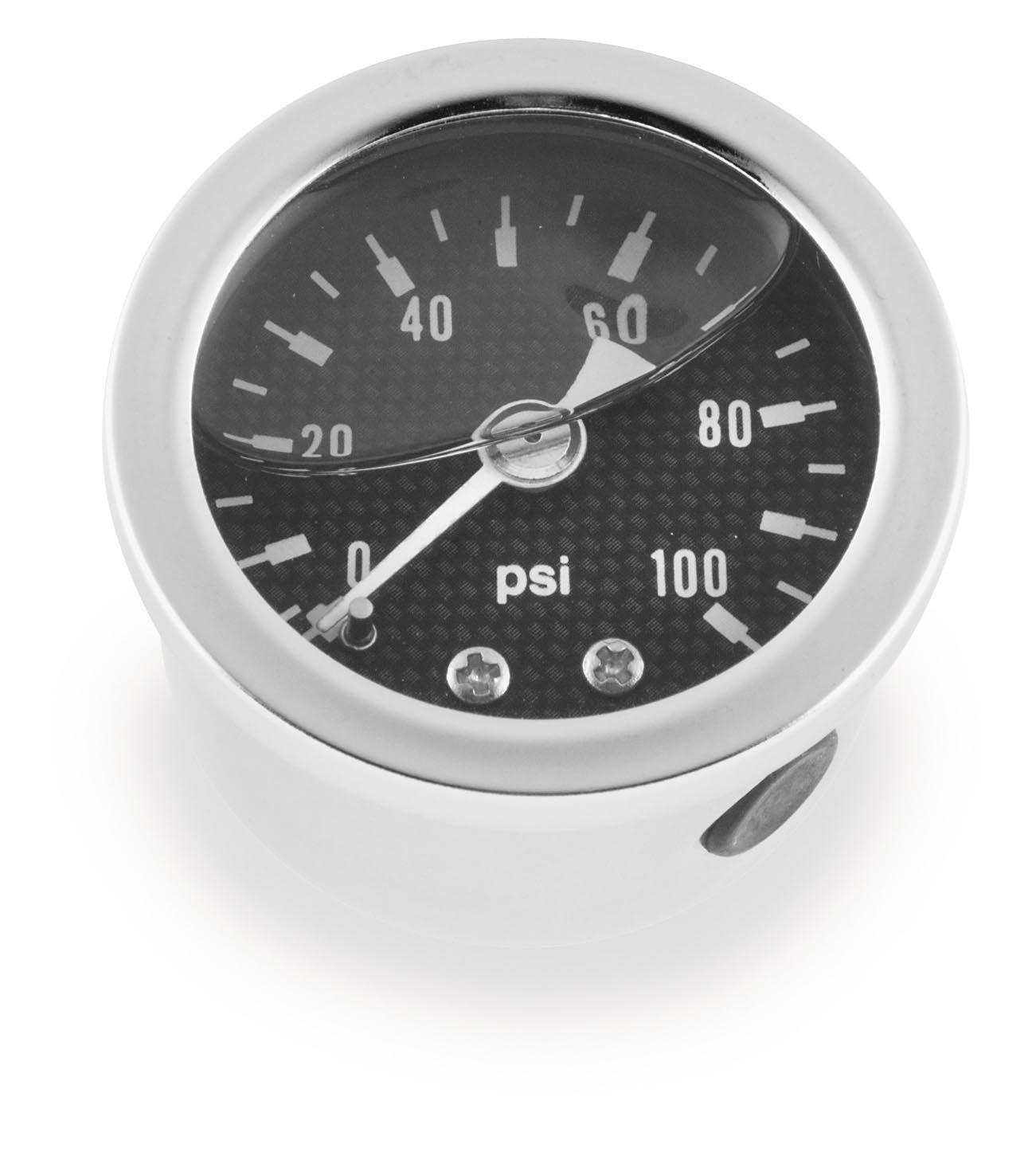 Bikers Choice Oil Pressure Gauge 0-100 PSI CRBN FBR for Harley 4333041741 Z49-6456