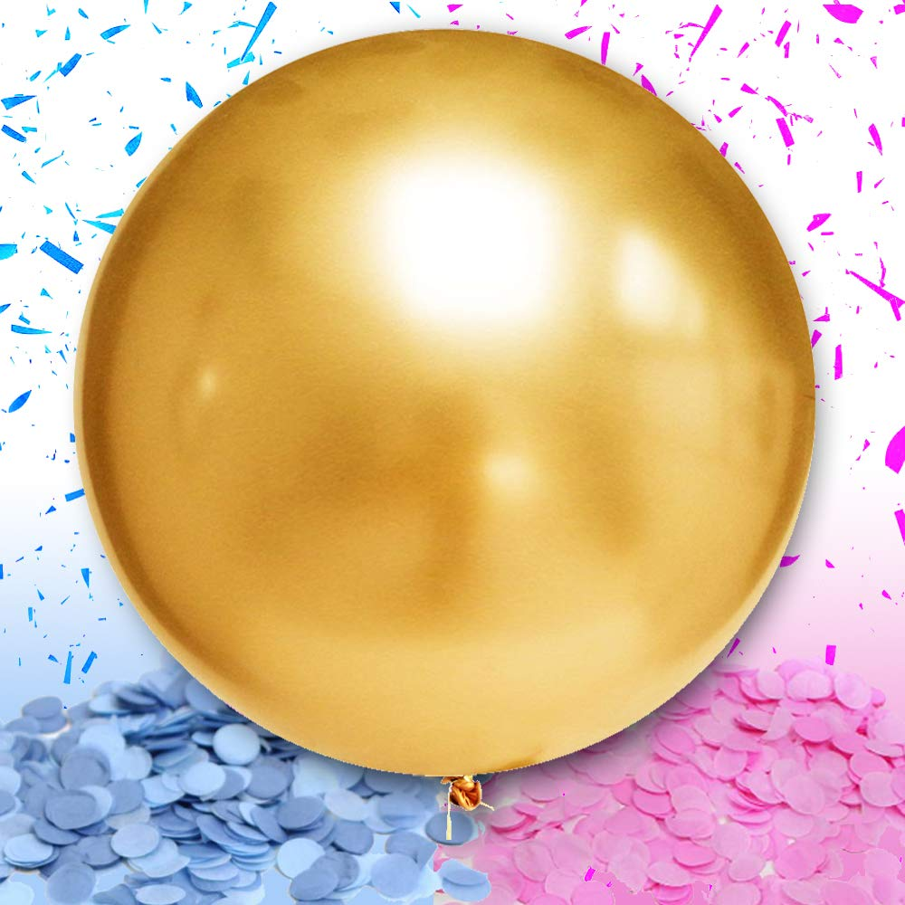 WeTheParty Gender Reveal Balloon - Huge 36'' Balloon for Baby Shower | Pink and Blue Confetti Included | Premium Baby Shower Supplies