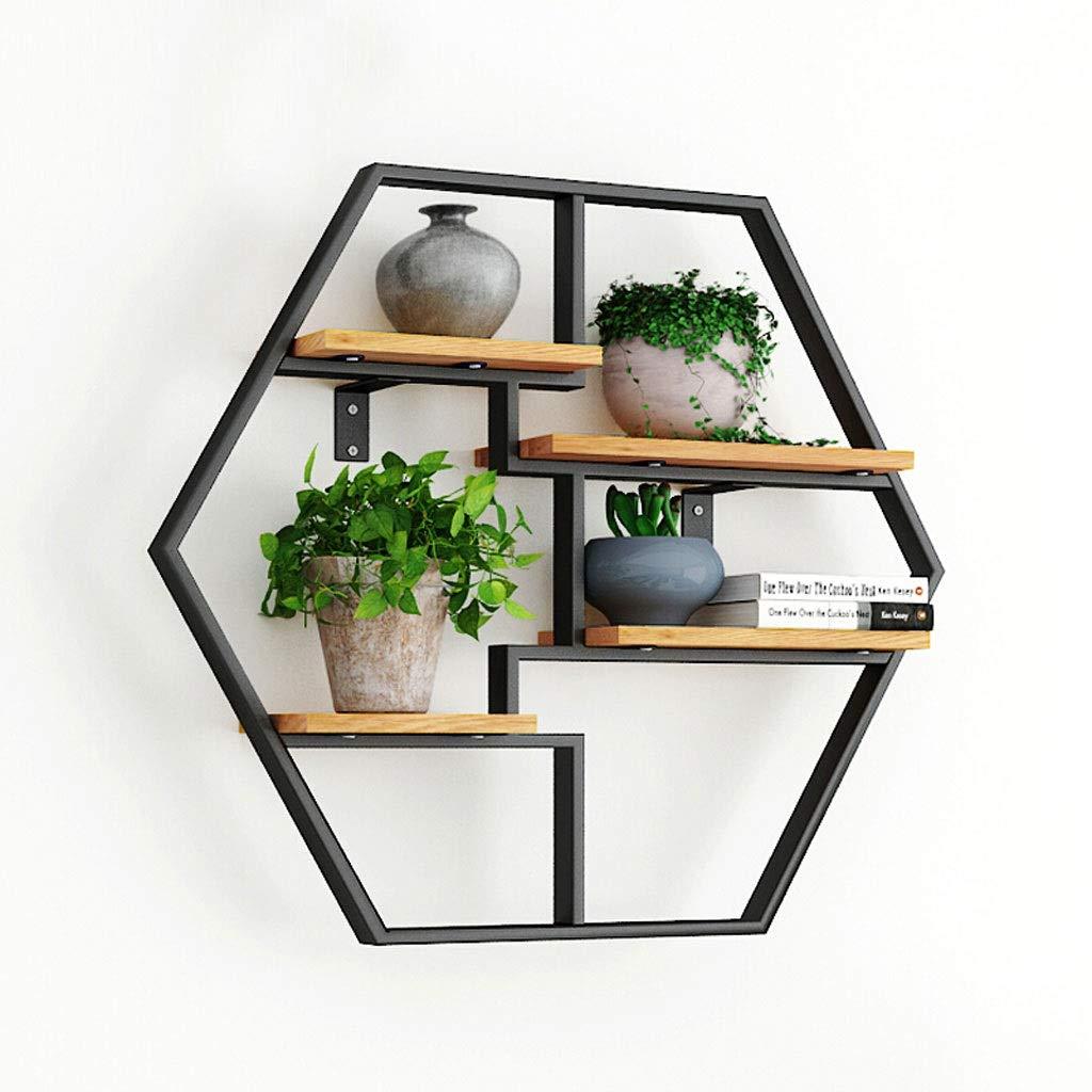LDG 六角 錬鉄 ウォールシェルフ、現代の 金属 ウォール ラック リビングルームの装飾 飾り棚 木製 壁掛け棚 B07STRJ4GQ