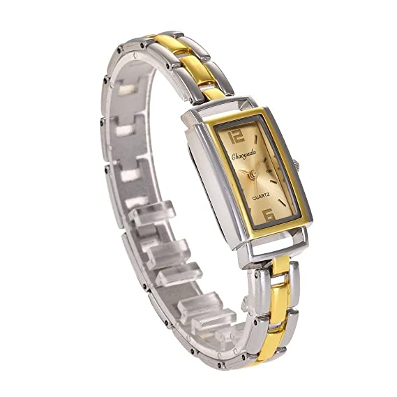 YAZILIND cuarzo reloj de pulsera rectangular dial reloj de acero de titanio correa de moda (
