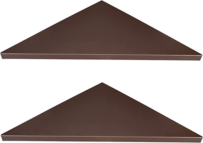 Brown Wooden Striped with Hole Pattern Evron Corner Mounting Shelf,Easy to Install Wall Corner Shelf,Set of 2