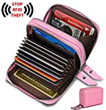 Image of Women's Genuine Leather RFID Secured Spacious Cute Zipper Card Wallet Small Purse (Pink)