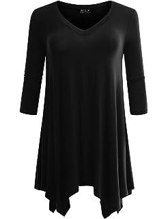b58e5aec54b BILY Women s Plus 3 4 Sleeve Swing Loose Fit Flattering Tunic Top for  Leggings