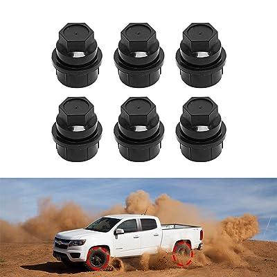 BASIKER 6 Pcs Black Plastic Wheel Lug Nut Cap Cover for GMC Chevy GM Trucks Screw on 1 inch Lug Nut Hexagon Caps Replace OEM 15646250: Automotive