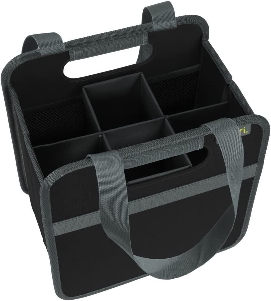 Meori Foldable Bottle Carrier for 6 Bottles Lava Black Wine Basket Shopping Transport Kitchen Trunk Travel Holiday Excursion Shopping Bag Polyester