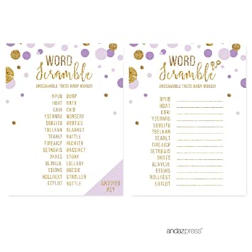 Andaz Press Lavender Gold Glitter Girl Baby Shower Party Collection, Games,  Activities, Decorations,
