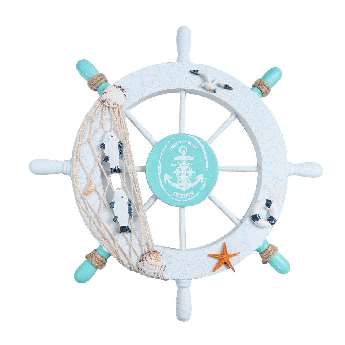 Anillo de nataci/ón KAIMENG Decoraci/ón de la pared del hogar Tim/ón Rueda Barco Volante barco de Madera Mediterr/áneo