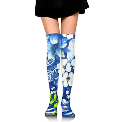 81ddec0f3 Image Unavailable. Image not available for. Color  Hawaiian Royal Blue Over  Knee Thigh Socks ...