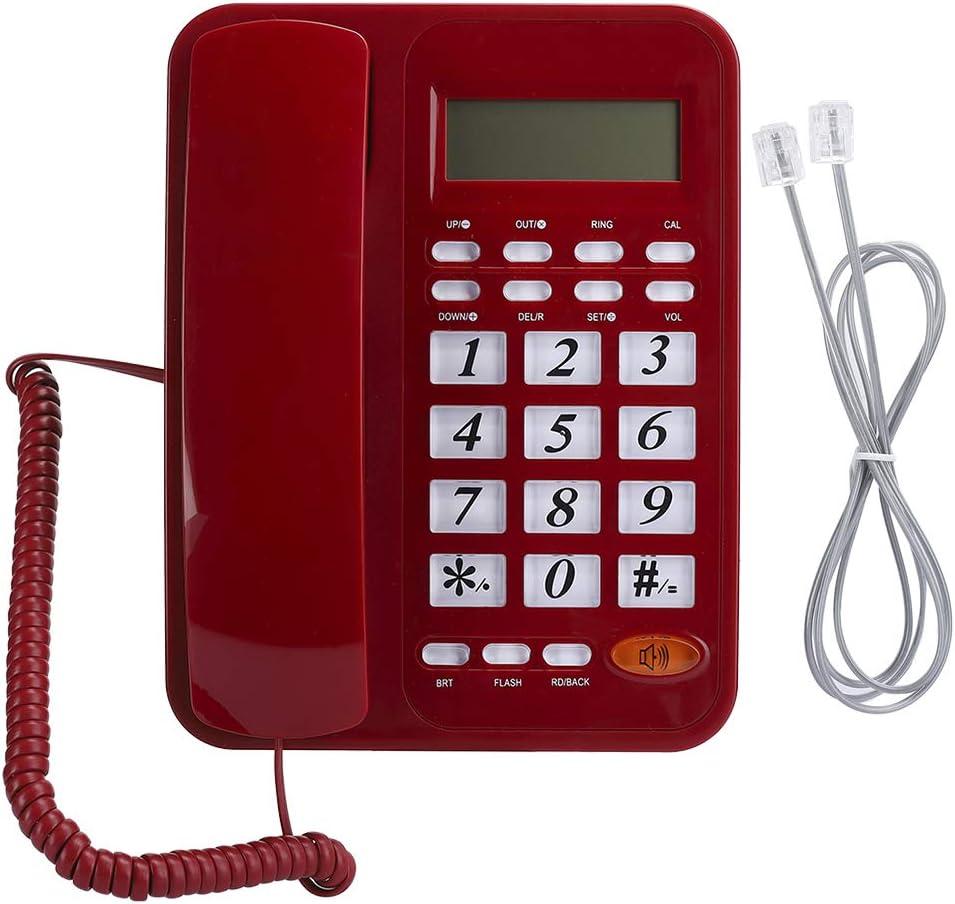 M ugast Corded Telephone,Wired Home Desktop/Wall-Mountable Landline Phone with DTMFFSK Caller ID,Date/Week Display,LED Screen,Adjustable Hands-Free Volume,Red