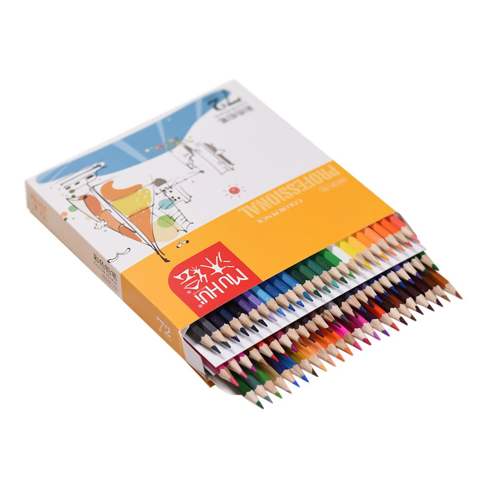 KKmoon 72 Couleur Premium Pré-affûtée Lot de crayons de couleur à base d'huile pour enfants adultes Artiste Art Dessin esquisse d'écriture illustrations livres de coloriage