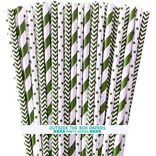 Paper Drinking Straws - Green and White - Stripe Chevron Polka Dot - 7.75 x .25 Inches - 150 Pack - Outside the Box Papers -