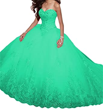 BanZhang Womens Quinceanera Party Dresses Long Prom Dress Juniors Ball Gown Beaded B312 Aqua 2