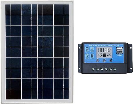 ECOWORTHY Sistema de Panel Solar portátil de 25 W de la Marca Everory para 12 V de Carga de la batería: 25 W módulo Solar y Controlador PWM de 20 A