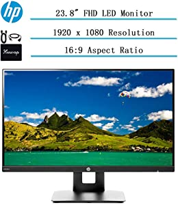 "2020 Newest HP 23.8"" Full HD (1920x1080) IPS LED Monitor for Business and Student, Build in Speaker, VESA Mounting, Tilt, HDMI, VGA, 5ms, 16:9 Aspect Ratio, w/Ghost Manta Accessories"
