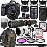 Canon EOS 6D Mark II DSLR Camera w/24-105mm USM Lens Bundle + Canon EF 75-300mm III Lens, Canon 50mm f/1.8, 500mm Lens & 650-1300mm Lens + Canon Backpack + 64GB Memory + Monopod + Professional Bundle