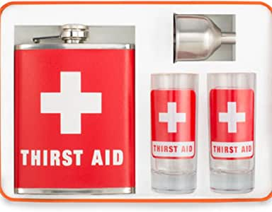 Thirst Aid Kit Cocktail Flask Bar Set w/ Flask, Shot Glasses & Travel Case