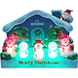 Illuminated Jolly Snowman Lights 3 Melodies Pop Up Christmas Greeting Card