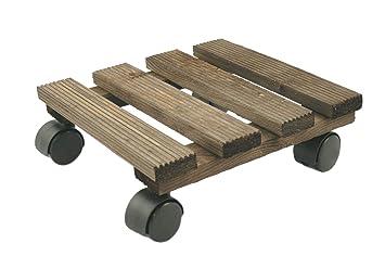 Rado madera | de madera carrito de macetero. Planta Cesto Soporte ruedas mover.. de madera natural color de ébano. Cuadrado 25 cm: Amazon.es: Jardín