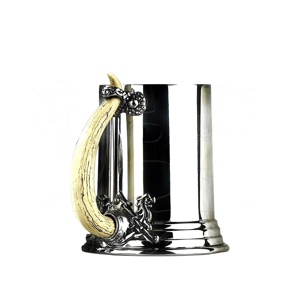 Alchemy Gothic Viking Horn Traditional Carved Polished Pewter Mount Pint Tankard Pewter AAT25