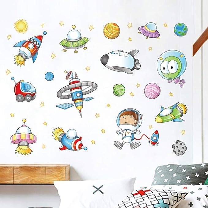 Cartoon Space Ship Alien Pegatinas De Pared Habitación De Los ...