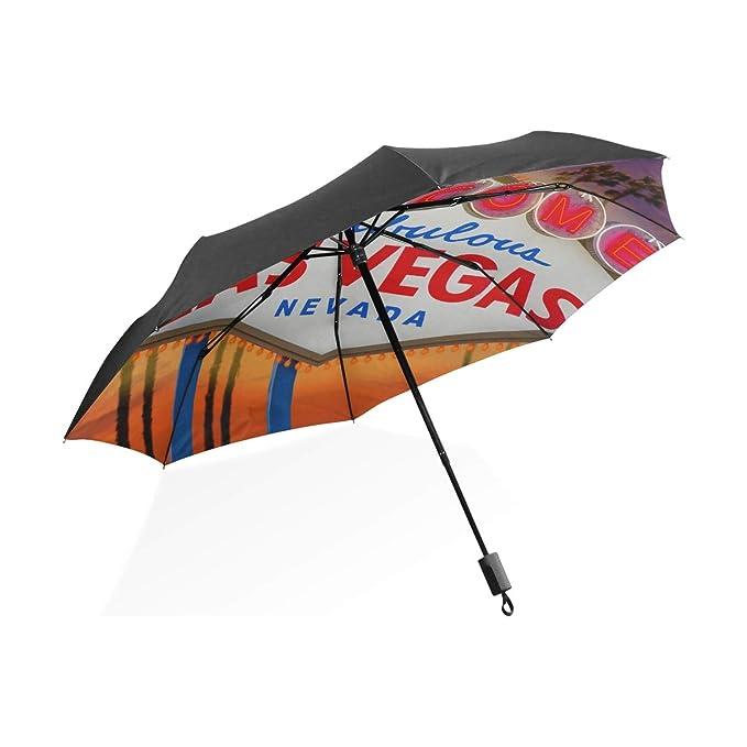 Paraguas de Viaje Cartel de Las Vegas y Palmera con Puesta ...