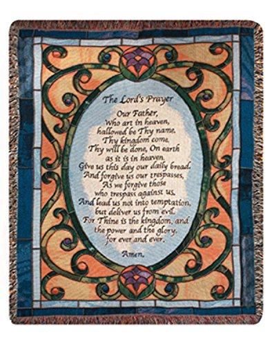 Lords Prayer Tapestry (Religious The Lord's Prayer Stained Glass Style Tapestry Throw Blanket 50