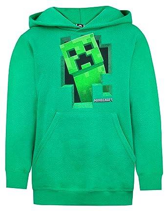 Minecraft Creeper Inside Boys Green Hoodie (5-6 Years)