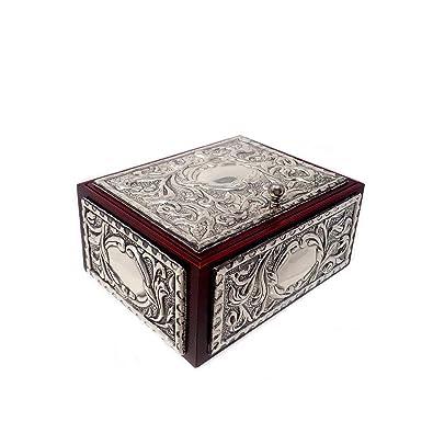 8deea7324fb7 Caja joyero plata Ley 925m madera motivos hojas repujado  AB9171    Amazon.es  Joyería